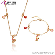 63528 fashion china wholesale delicat lovely bracelet and pendant gold plated children jewelry sets, kids jewelry