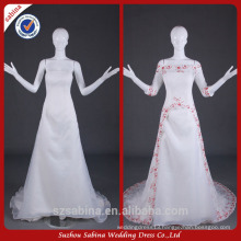 WY0500 ivory red beads half sleeve real pictures alibaba two piece wedding dress