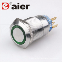 110V Stainless Steel LED Illuminated Pushbutton Switch on PCB
