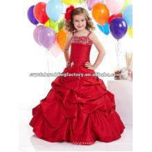 El envío libre rebordeó el vestido por encargo acanalado rojo CWFaf4453 del cabrito del desfile de la falda del vestido de bola