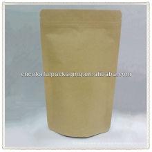 Kraft puro Stand up / Doypack Kraft papel / Al / PE embalagem Pouch para café ou outros com Impressão ou Janela