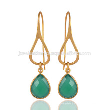 Yellow Gold Plated Sterling Silver & Green Chalcedony Drop Jewelry