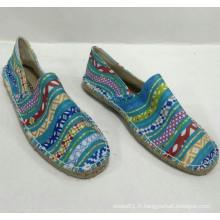 Semelle de chanvre en gros à bas prix Chaussures d'espadrille à imprimé bleu Chaussures de toile pour hommes / femmes Classics