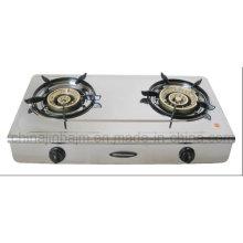 2 Burner Brass Burner Cap Stainless Steel Gas Stove