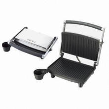 Panini grill with 2-slice, stainless steel housing cover and overheat protection