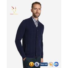 Cardigan tricoté en laine pure pour homme