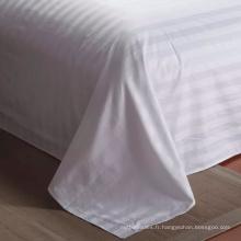 Super luxe 300tc 100% coton feuille de lit en couleurs blanches