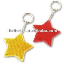 star shape pvc reflective toys with keyring