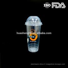 Tasses jetables en plastique claires de smoothie de la catégorie comestible 20oz / 600ml de qualité comestible avec des couvercles pour la vente en gros