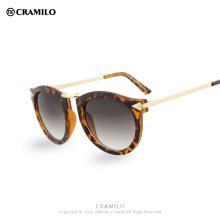 Retro Diseñador de la Marca Gafas de Sol Mujeres Vintage Recubrimiento redondo espejo gato ojo gafas de sol gafas de sol de metal Gafas De Sol F1060