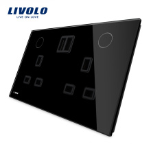 Livolo Smart Home Touch Button UK 3 Pin Socket with USB Charger VL-W2C2UKU-12