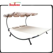 Doppeltes Sonnenliege-Bett im Freien mit Überdachung und Rad-Überdachungs-Bett
