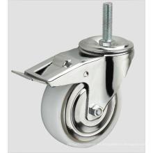 Rosca de la rueda de nylon Caster industrial con freno lateral