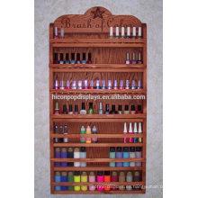 Nuevo estante del estante de las uñas Estantería de madera Productos del maquillaje Unidad de exhibición Estantes del estallido del estallido del bambú