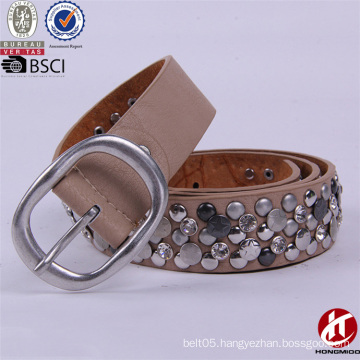 Nickle and A2O Free Fashion Cow Hide Leather Rivet Belts for Ladies Aks Sex
