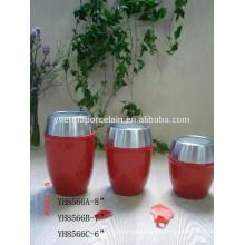 Estilo caliente de cerámica barata de porcelana de crema de almacenamiento de tarro