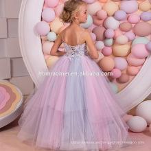 OEM nueva moda últimos diseños vestido de bola de colores vestido largo de la flor como hombro rocío espalda 15 años chica sin vestido