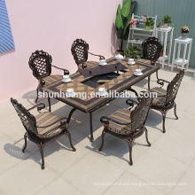 Nice outdoor patio cast aluminum furniture dining room BBQ dining table and chair set