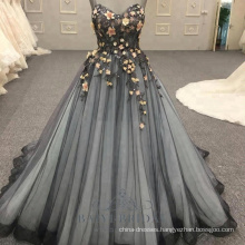 Sleeveless elegant wholesale flower strap black backless 2018 evening dresses