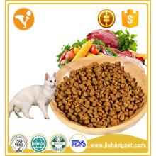 Alimentos de gato seco e nutritivo com alto teor de proteínas e cálcio