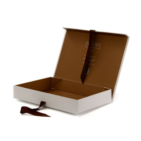 Brown Inside Collapsible Gift Box with Ribbon Closure