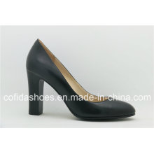 Classic Leather Chunky Heel Women Shoes for Office Ladies