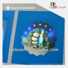 Etiqueta del logotipo de la impresión del número de serie de la garantía del holograma