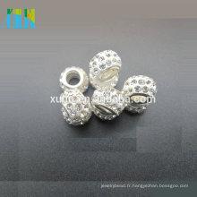 Vente chaude grand trou dans la balle de base moyenne avec des perles pavées strass AAA pour le passe-temps bricolage
