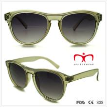 Plástico gafas de sol de las señoras transparente con doble color (wsp508286)