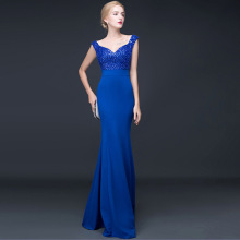 A word shoulder evening dress long winter banquet host annual meeting dress Slim was thin woman