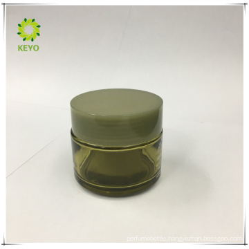 Frosted skincare jar green cap 4oz green glass cosmetic jars recycled cosmetic packaging
