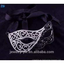 Hermoso rhinestone medio mascarada negro mascarada de las máscaras