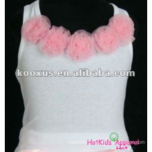 Adorable White w hot pink flower Cotton Tank Top/Petti Top/Vest for Children