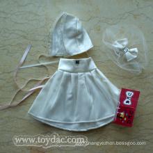 White Plush Bear Toy`S Dress