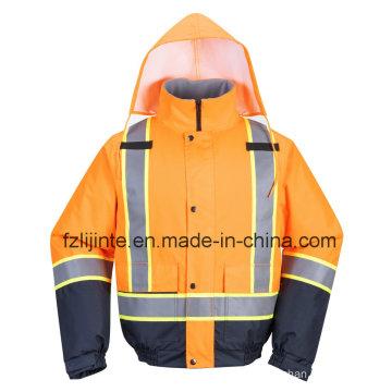 Winter Reflective Workwear High Visibility Bomber Safety Jacket