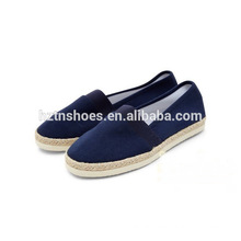 Women and men's jute espadrilles canvas shoes with eleatic band slip on flat shoes