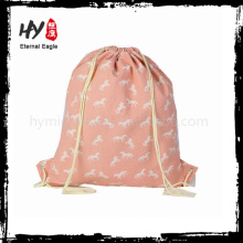 Flor impresa bolsas de tela de encargo con cordones