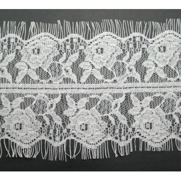 Mode blanc cils en nylon dentelle/sexe Nylon dentelle/sous-vêtements parage