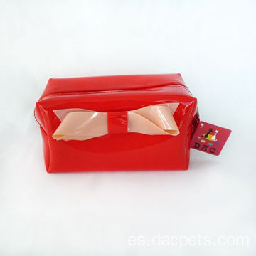 Red Square Shape PU Cosmetic Bags With Bow-ties