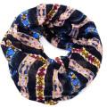 Nueva llegada womoen calidad alta impresión suave círculo bucle funky logotipo personalizado infinito bufanda