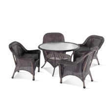 Round PE Rattan Dining Table Chair Set