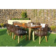 Hottest Design Rattan Wicker Acacia Holz Tisch und Esszimmer Stuhl Outdoor Möbel