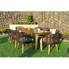 Hottest design Rattan Wicker Acacia Wooden Table and Dining chair Outdoor Furniture