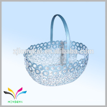 New design metal wire mesh fruit or food chrome storage basket for shopping