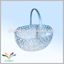 Novo design de metal malha de arame ou cesta de armazenamento de alimentos cromados para compras