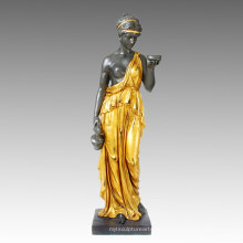 Мифология Бронзовая скульптура богини сада Хебе Деку Статуя латуни Tpls-001