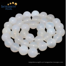 Rodada 4 6 8, 10, 12mm Atacado White Agate Natural Gemstone Agate Stone