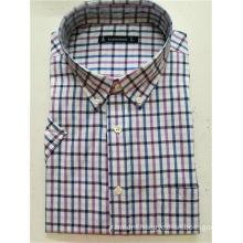 T/C men's yarn dye long sleeve basic shirt