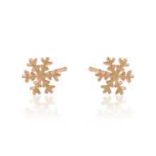 97401 xuping fashion simple forme de flocon de neige rose couleur or dames stud boucles d'oreilles