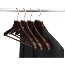BSCI factory wholesale luxury wooden coat hanger with trouser bar